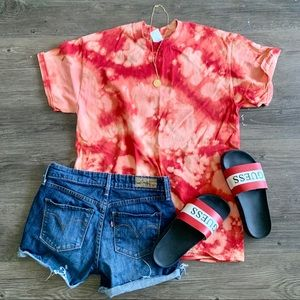 (047) Red Bleach Dyed Tee
